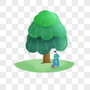 绿色春天植树节元素图片