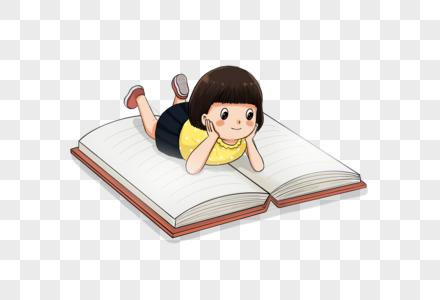 趴着看书的小女孩图片