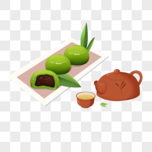 吃青团喝茶卡通元素图片