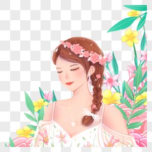 花丛中的女孩图片