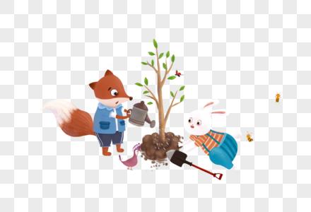 兔子狐狸种树图片