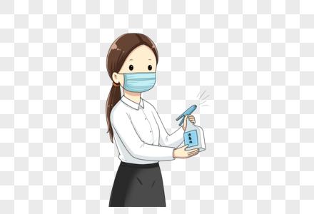 拿着消毒液的女孩图片