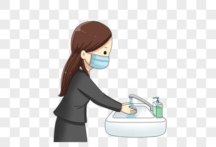 洗手的女职工图片