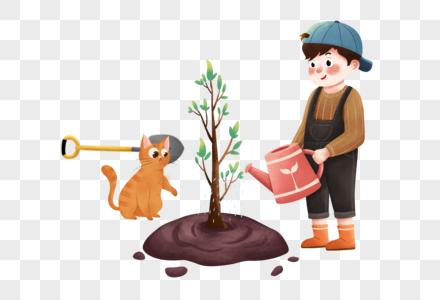 植树节种树的男孩图片