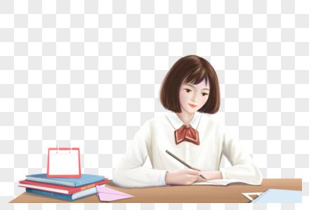 认真学习写作业的女孩图片