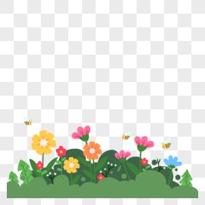 春天花草盛开蜜蜂飞舞卡通元素图片