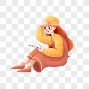 坐着画画的女孩图片