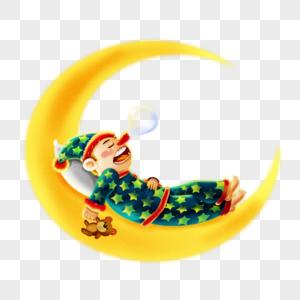 躺在月亮上睡觉的男孩图片