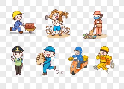 劳动节辛苦的各行业工作人员图片