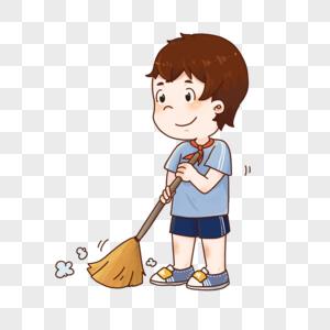打扫卫生的男孩图片