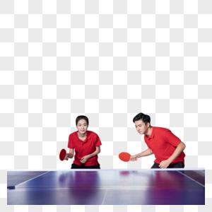 打乒乓球的青年男女图片