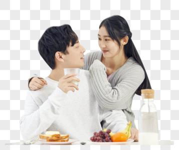 情侣一起吃早餐图片