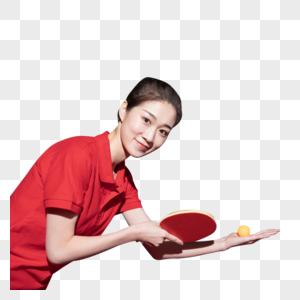 乒乓球训练的青年女图片