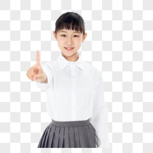 中学生女孩指点前方图片