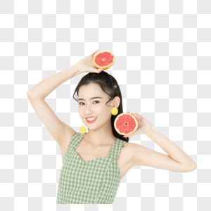 甜美女孩手拿西柚图片