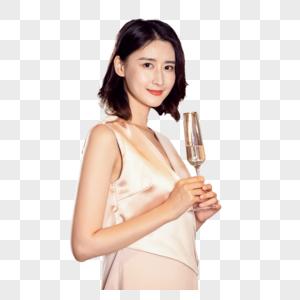 气质美女手举香槟图片