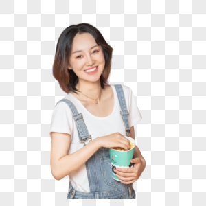 年轻美女手拿爆米花图片