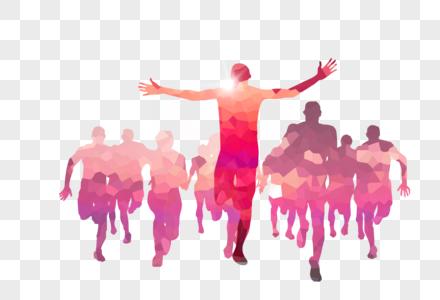 奔跑的青年彩色剪影图片