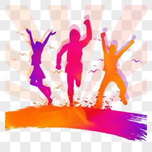 五四青年节彩色人物男女活泼剪影设计元素图片