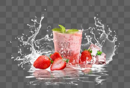 夏日清凉草莓饮品图片