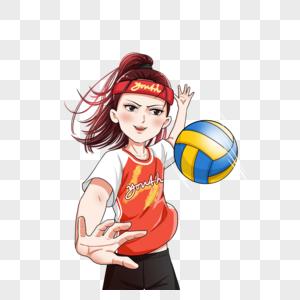 打排球的女生图片