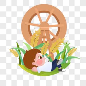 水车和男孩图片