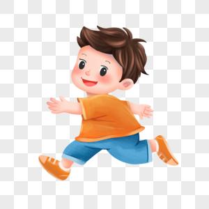开心跑步的小男孩图片