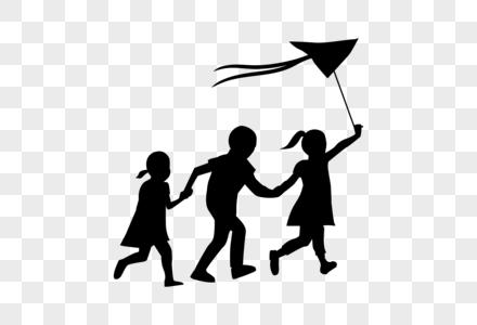 儿童节玩风筝奔跑小朋友剪影图片