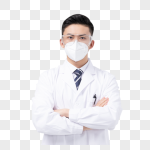佩戴口罩与护目镜的男医生形象图片
