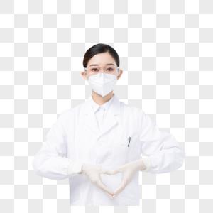 佩戴口罩与护目镜比心的女医生图片