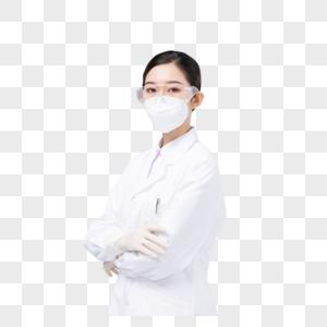 佩戴口罩与护目镜的女医生图片