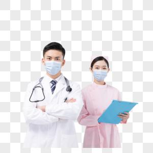 佩戴口罩与护目镜的医生与护士图片
