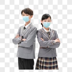佩戴口罩的同学们图片