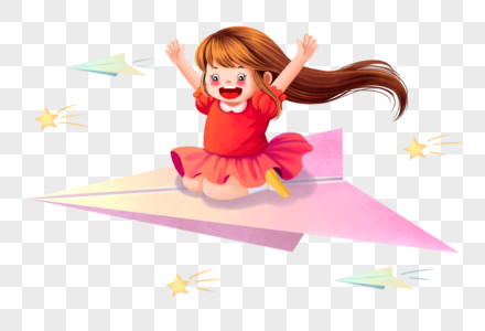 小女孩坐纸飞机图片