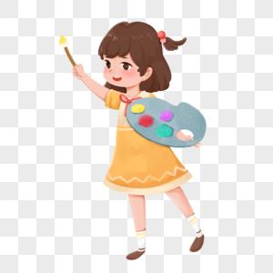 小女孩用画板画画图片