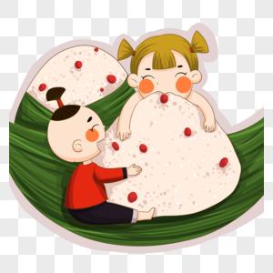 吃粽子的孩子图片