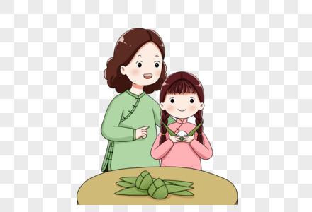 母女一起包粽子图片