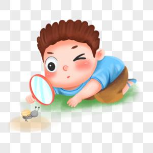 男孩子用放大镜观察蚂蚁图片
