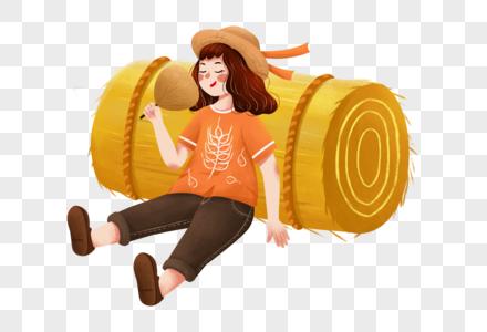 靠着农作物的女孩图片