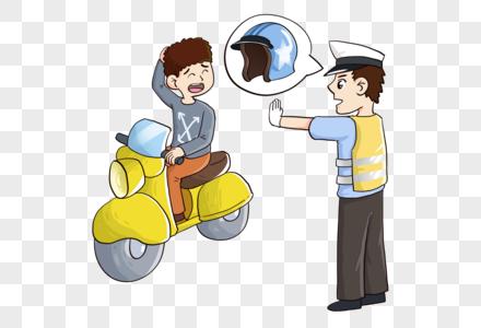 交警安全指导戴头盔图片