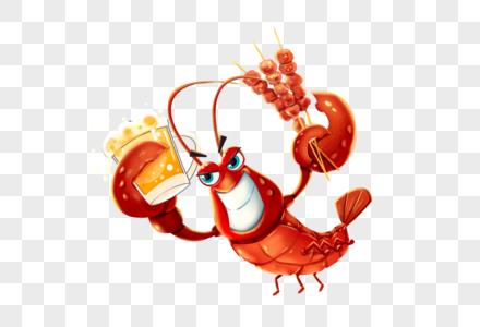 撸串喝啤酒的龙虾图片