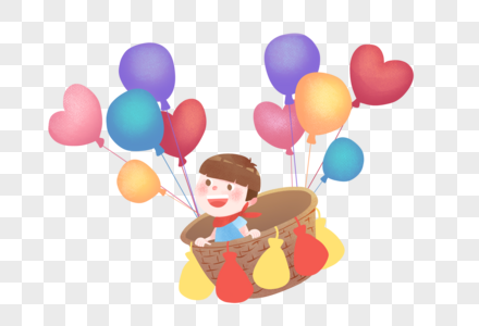 乘坐热气球的孩子图片