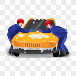 工人清洗汽车场景图片