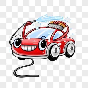 可爱卡通拟人红色洗车汽车形象图片