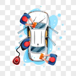 俯视工人洗车场景图片