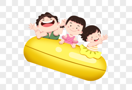 做汽艇的孩子图片