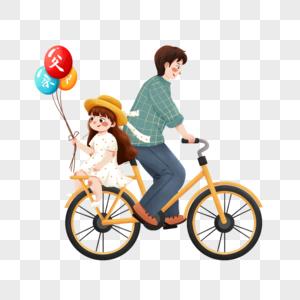 骑车带孩子的父亲图片