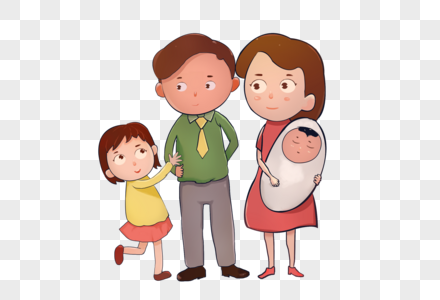 生了二胎的一家人图片