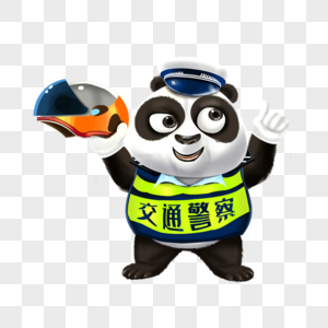拿着头盔的交警熊猫图片