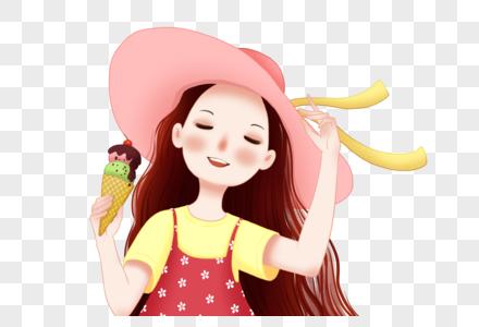 冰激凌的女孩图片
